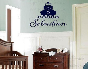 Nautical Wall Decal with Boat Initial and Name - Boat Wall Decals for Baby Nursery or Teen Girl and Boy 22H x 32W FN0177