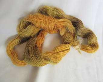100% Superfine Alpaca - Hand Dyed/Painted - Yellow/Gold/Olive - 3 Ply Fingering Weight Yarn - 200 Yds - 19-22 WPI