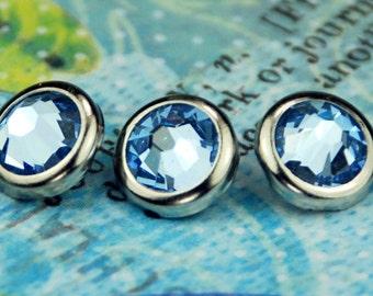 10 Light Sapphire Crystal Hair Snaps - Round Silver Rim Edition -- Made with Swarovski Crystal Element Rhinestones
