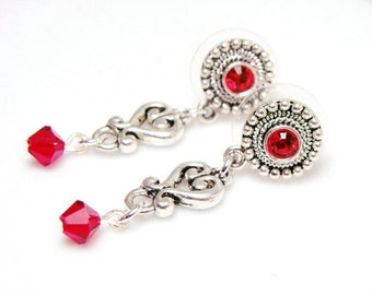 Fiery Red Siam Swarovski Crystal Antiqued Earstud Earrings, Jewelry