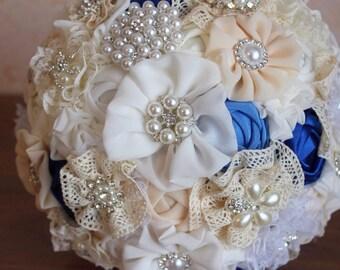 Brooch bouquet, fabric bouquet, wedding brooch bouquet,blue brooch bouquet, blue wedding bouquet, wedding blue, brooch bouquet