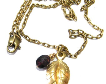 Birthstone Necklace, January Birthstone Necklace, Leaf Necklace, Garnet Birthstone, Gold Birthstone Necklace,