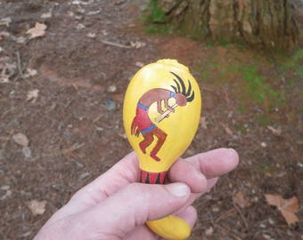 Palm Sized Shaman's Rattle - Kokopelli - Free Shipping