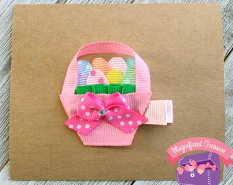 Easter Basket Hair Bow - Ribbon Sculpture - Girls Easter Hair Clip - Toddler Barrette - Ribbon Easter Basket Clippie - Baby Easter Clip