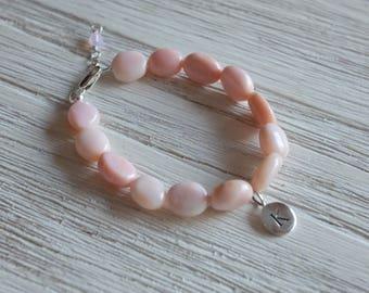Personalozed Pink opal toddler bracelet-personalozed child bracelet-baby bracelet-birthday gift for girls