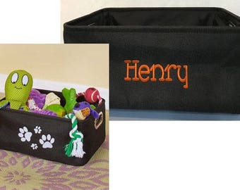 Embroidered Pet Storage Bin Personalized With Name And Embroidered Paws
