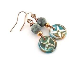 Handmade Earrings, Polymer Clay Earrings, Matte Turquoise X Earrings, Boho Earrings, Artisan Earrings, Turquoise Earrings, Copper Earrings