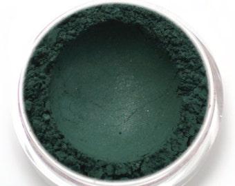"Dark Green Eyeshadow - ""Puck"" - satin hunter green - natural vegan mineral makeup"