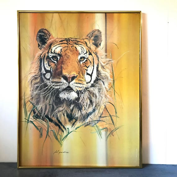 vintage framed lithograph - Tiger art - Phil Prentice - wildlife safari jungle - yellow orange