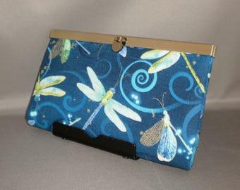 Dragonfly Wallet - DIVA Wallet - Clutch Wallet - Blue - Green - Gold