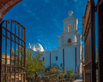 """Mission San Xavier """"Gateway to Desert Sky"""" Fine Art Photograph (9.5"""" x 13.25"""" print on 14"""" x 18"""" archival board) Limited Edition Signed"""
