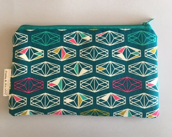 Geometric Jewel Gem Pencil Case / Make Up Bag