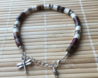 Dragonfly Adjustable Beaded Bracelet Natural Gemstone Healing Properties Picasso Jasper Heishi Bead Charm Jewelry