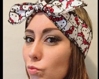 Hello Kitty headband // Hello Kitty headwrap // tie headband // knot style headband // Hello Kitty