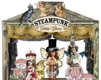 printable Steampunk Fairy garden theatre paper doll set craft project DIY kit to make a Fairy Garden scrapbooking