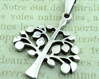 Silver Tree of Life Pendant, Stainless Steel Stampable Pendant SST Findings 30x26x3mm Medium Tree Charm Family Tree Pendant (036)