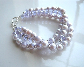 Three Strand Crystal and Lavender Freshwater Pearl Bracelet