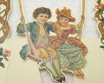 Victorian Card Easel Back Swinging Couple Sweethearts Unused Vintage Card Ephemera