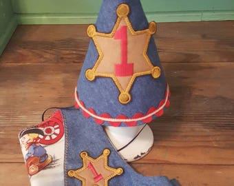 First Birthday, Cake Smash, Western, Cowboy, Sheriff Hat or Vest.