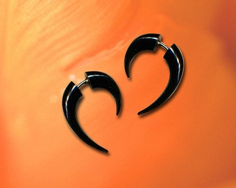 Fake Gauge Earrings, Mini Hooks, Fake Gauge, Black Horn, Tribal Earrings, Handmade, Organic, Cheaters, Eco Friendly, Fake Plugs - H25