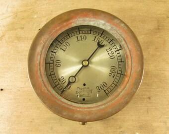 Pressure Gauge Ashton Valve Co. Brass Frame Bezel Steam Valve Steampunk Antique Vintage 1800s part supplies