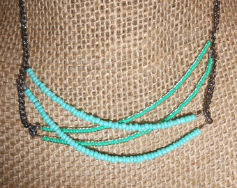 Teal Crisscross layered necklace