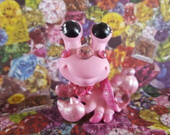 October Birthstone Pink Tourmaline Hermit Crab OOAK Custom Littlest Pet Shop Repaint LPS