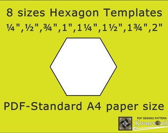 8 sizes Hexagon Templates - Standard A4, Instant downloaded PDF