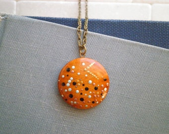 Modern Dot Art Necklace - Enamel Galaxy Outer Space Cosmic Moon & Stars Pointillism Pendant - Hand Painted Vintage Wood Button Jewelry Gift