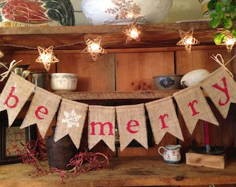 Be Merry Burlap Bunting in Red, Christmas Bunting, Christmas Decoration, Holiday Bunting, Christmas Garland, Holiday Garland, Burlap Bunting