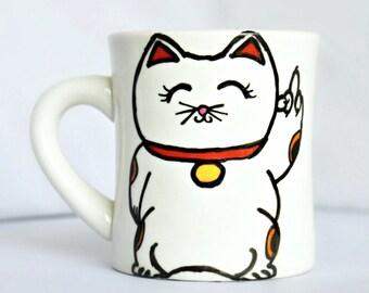 Maneki Neko mug, Funny Mug, coffee mug, tea cup, gag gift, lucky cat, middle finger, fcuk off, personalized, left handed, Japanese, cat mug