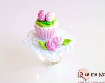 Mini Food Polka Dot Eggs on Cupcake  Ring, Cupcake Ring, Easter Jewelry, Miniature Food Ring, Kawaii Jewelry,Polymer Clay Sweets, Festive
