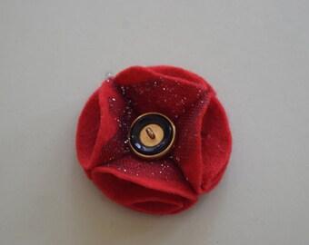 Red Rememberance Felt Poppy Pin