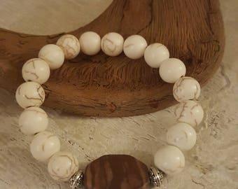 WHITE BUFFALO Howlite beads with gemstone.