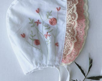 Rose-Embrodered bonnet // baby bonnet/cotton bonnet.