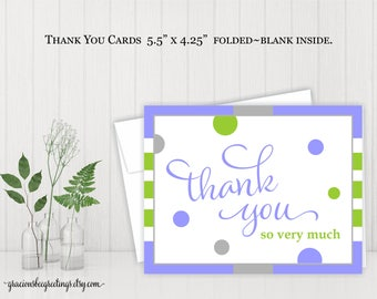 Thank You Cards, Thank You Notes, Thank You Stationery, Wedding, Bridal, Baby Shower, Birthday, Digital, Printable