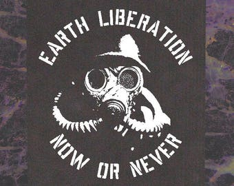 Earth Liberation BACK Patch - Punk First Front Environment Greenpeace Nature Vegetarian Vegan ELF Animal Liberation Rights Environmental