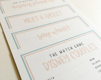 Printed Disney Inspired Bridal Shower & Bachelorette Party Game Pack of 5 | Walt Disney World + Disneyland Brides | Answer Sheet Included