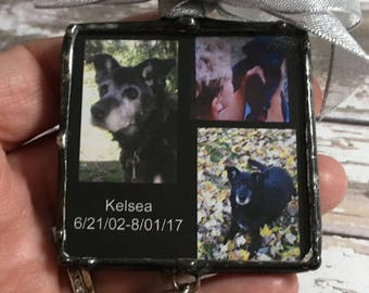 Photo Frame Ornament, Pet Memorial Ornament, Soldered Glass, Best Friend Charm, Memorial Poem, Two Sided, Personalized, Picture Frame