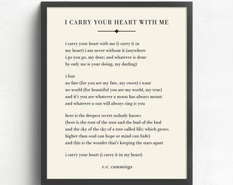 I Carry Your Heart With Me Wall Art, E.E. Cummings Poem, Literary Art, Wedding Gift UNFRAMED