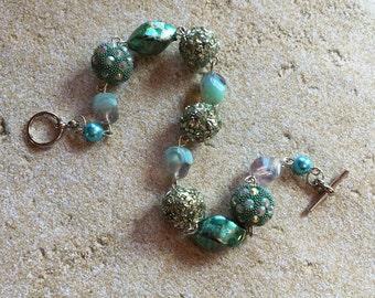 Blue Statement Bracelet, Glass Bead Bracelet, Beadwork Bracelet, Beaded Bracelet, Womens Jewelry