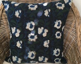 Floral Block Print Cotton Cushion Cover