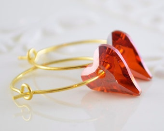 Red Crystal Heart Earrings, Gold Plated Hoops, Genuine Swarovski, Deep Red Magma, Valentine's Day Jewelry