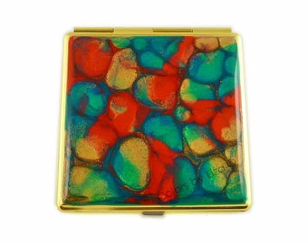 Square Compact Mirror Hand Painted Enamel Orange Teal and Gold Pocket Mirror Custom Colors and Personalzied Options Available