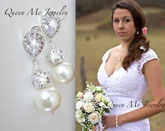 Swarovski pearl Wedding earrings Chunky pearl Bridesmaids brides mother of the bride earrings Pearl drop earrings Bridal jewelry LOLITA