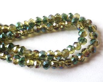 10 x beads glass Rondelle faceted 2, 5x2mm LIGHT OLIVINE GREEN METALLIC