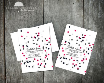 Colorful Confetti Wedding Invitation with Envelope - 5x7