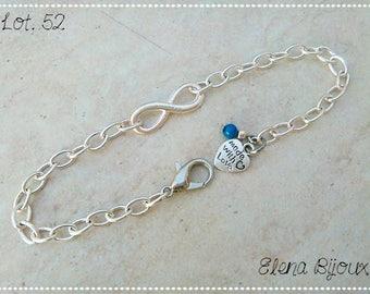 """Infinite"" bracelet with charm and blue Swarovski pearl"