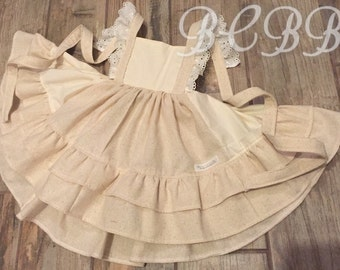 Fall Dress Cream Dress Photo Shoot Handmade Gorgeous Muslin Lace Natural Toddler Outfit Gift Custom Spring Summer 6m 12m 18m 2T 3T 4T 5T