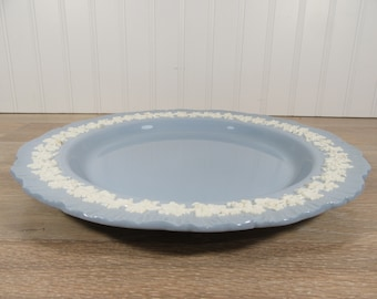 Wedgwood of Etruria and Barlaston white embossed blue Queensware round platter - good condition